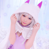 Emilia ReZero Re:Zero White Long Coat Hoodie Kitty Cat Pointy Ear Cosplay Costume OC1794