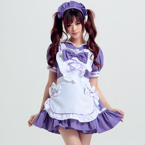 Purple and White Kawaii Heart Apron Maid Dress