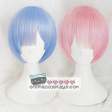 Rem and Ram Short Curved Cosplay Blue and Pink Cosplay Re:Zero ReZero Wig OC1201