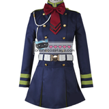 Seraph of the End Shinoa Hīragi and Mitsuba Sangū Cosplay Uniform Black and Blue Bow Costume OC4590