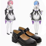 Rem and Ram Black Flat Shoes Cosplay Costume Accessory ReZero Re:Zero OC3237