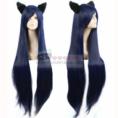 Black Navy Long Straight Ahri League of Legends Cosplay Wig OC4303
