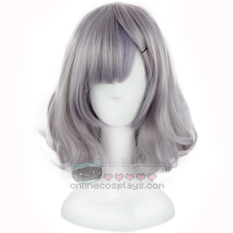 Harajuku Japanese Cosplay Short Grey Wavy Wig OC4510