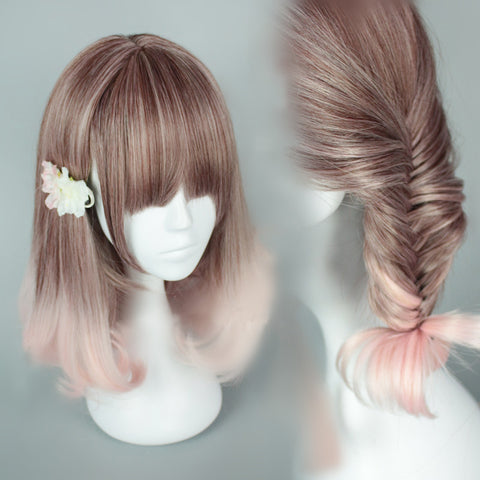 Brown and Pink Gradient Short Cosplay WIg