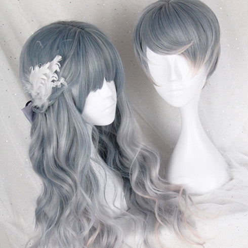 Silver Grey and Blue Gradient Wavy Short and Long Wig