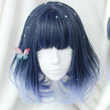 Short Dark Navy to Light Blue Gradient Cosplay Wig