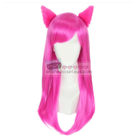 Academy Ahri League of Legends Cosplay School Hot Pink Medium Straight Wig OC5352