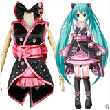 Hatsune Miku VOCALOID Pink and Black Mini Sleevless Kimono Dress Cosplay Costume OC3682