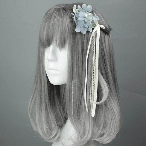 See Through Front Fringe Grey Gradient Color Cosplay Wig