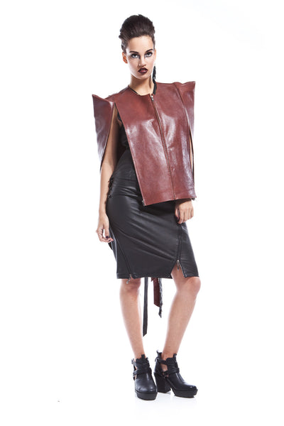 Barytheon Structured Leather Cape
