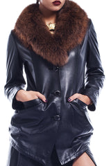 Katelyn Tully Fur Collar Leather Jacket
