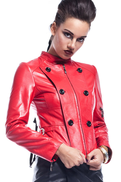 Melisandra Button Leather Jacket