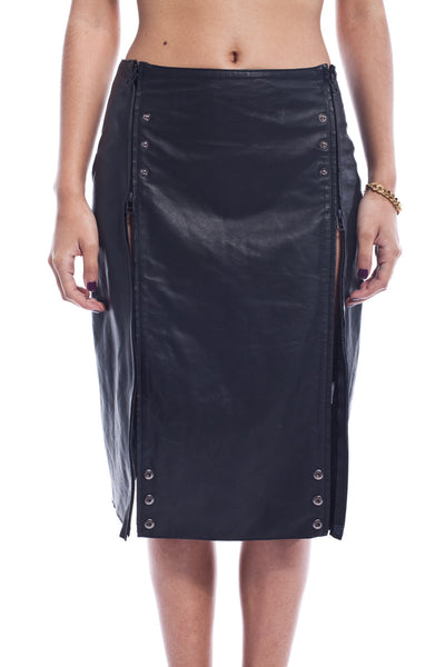 Sansa Starx Panel Leather Skirt
