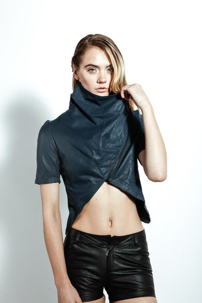 Wrap Collar Crop Jacket