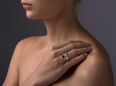 Nora Multi Ring - matte, rose gold plated silver