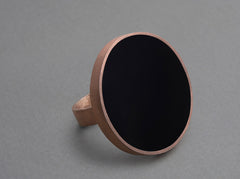 Nora Disc Ring - matte, rose gold plated silver