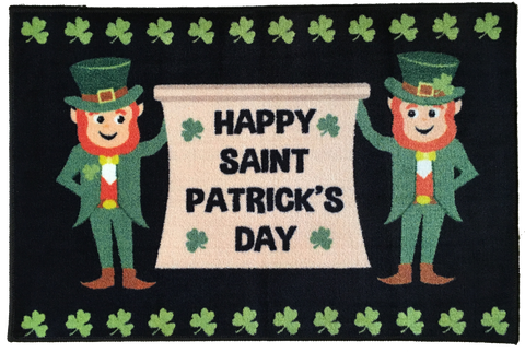 HAPPY ST PATRICKS DAY RUG BLACK