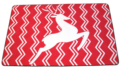 CHEVRON REINDEER RUG - RED