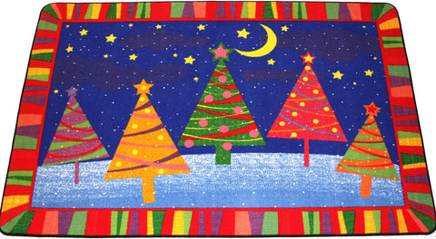 HAPPY CHRISTMAS TREES RUG - RED MULTI