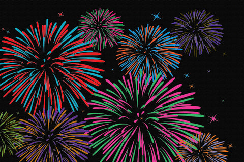 FIREWORKS NEW YEAR RUG