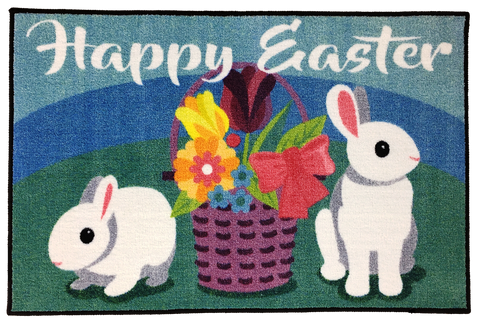 EASTER BASKET AND BUNNY RUG