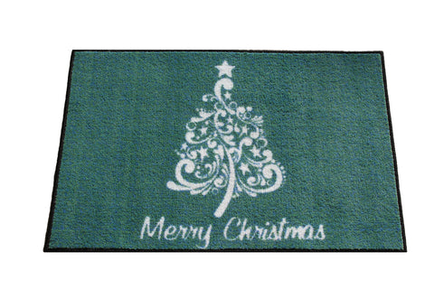 SCROLL CHRISTMAS TREE RUG - TEAL