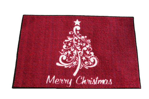 SCROLL CHRISTMAS TREE RUG - PLUM