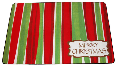 MERRY CHRISTMAS AREA RUG - RED/GREEN
