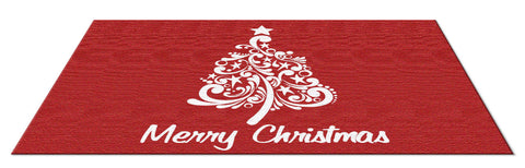 SCROLL CHRISTMAS TREE RUG - CRANBERRY