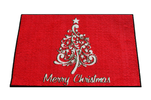 *HOT SALE* SCROLL CHRISTMAS TREE RUG - RED