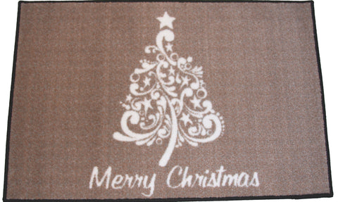 SCROLL CHRISTMAS TREE RUG - NEUTRAL