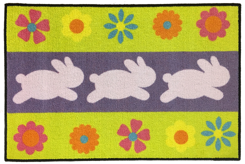 THREE EASTER BUNNIES RUG