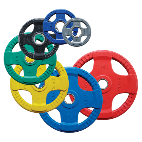 Body-Solid 4 Grip Colored Rubber Grip Olympic Plates ORCK