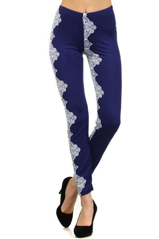 Women's Abstract Blue Floral Bandana Printed Leggings