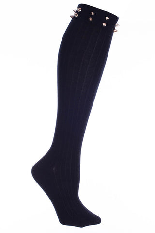 Ladies Pointed Stud Knee High Socks