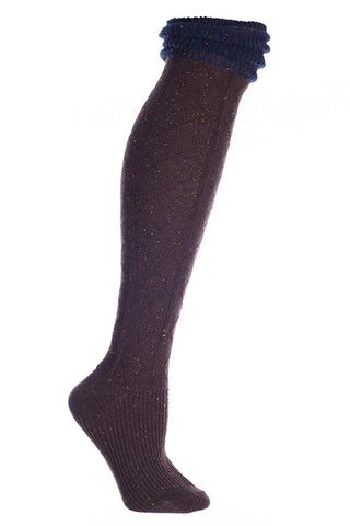 Ladies Speckled Wool Knee High Socks