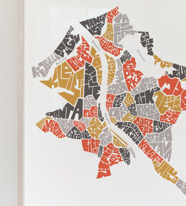 Riga map graphic print