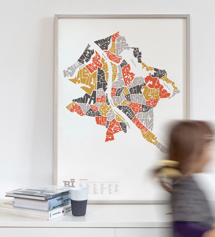 Rīga map graphic print