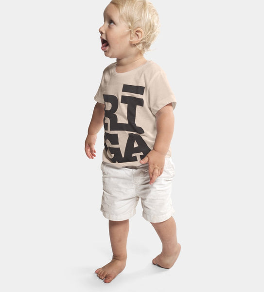 Kids T-shirt — RĪGA Original® (Cream Pearl, 100% Organic)