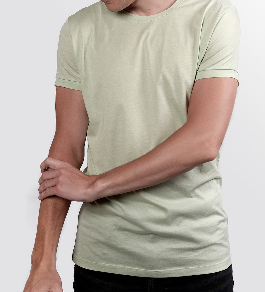 Man in a mint tshirt from front
