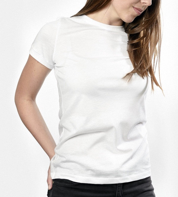 Woman in a white T shirt