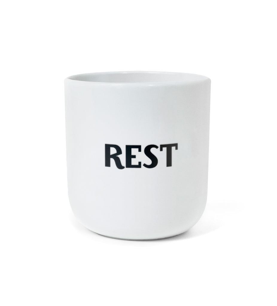 "Iconic Design Mug — ""WORK / REST"""