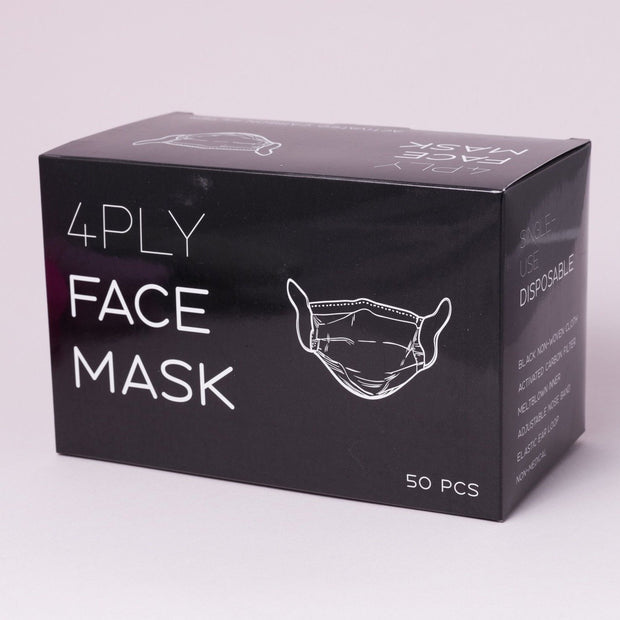 Black Fashion Mask - 4 Ply - 50 pcs - - The Skin Boutique - Face Mask - The Skin Boutique