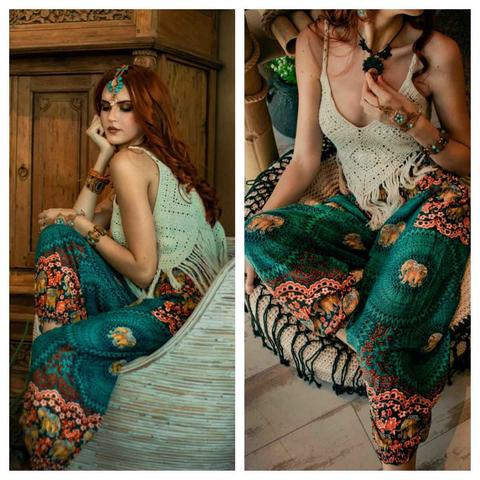 Boho chic look harme pants