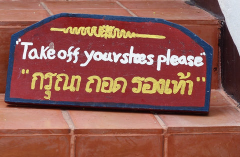 Take off your shoes sign thailand