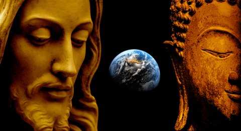 jesus and buddha with earth in background