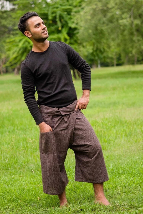 Men's Brown 3/4 Fisherman Pants