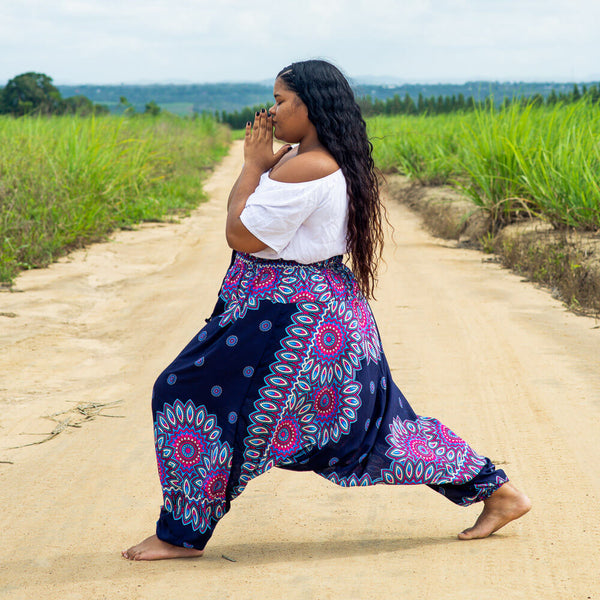 Plus Size Blue Lotus Pants