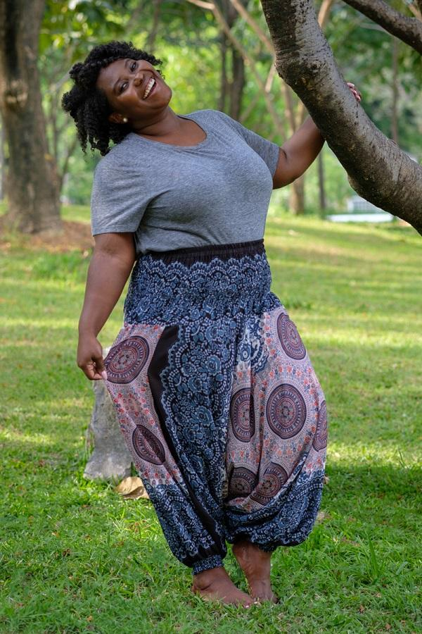 Plus Size Blue Blossom Pants