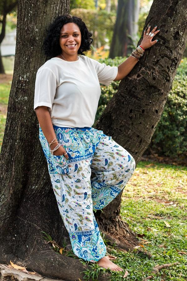 Blue Plus Size Flow Pants
